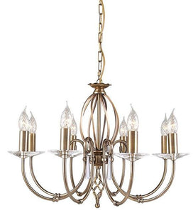 Aegean 8Lt Chandelier Aged Brass - London Lighting - 1