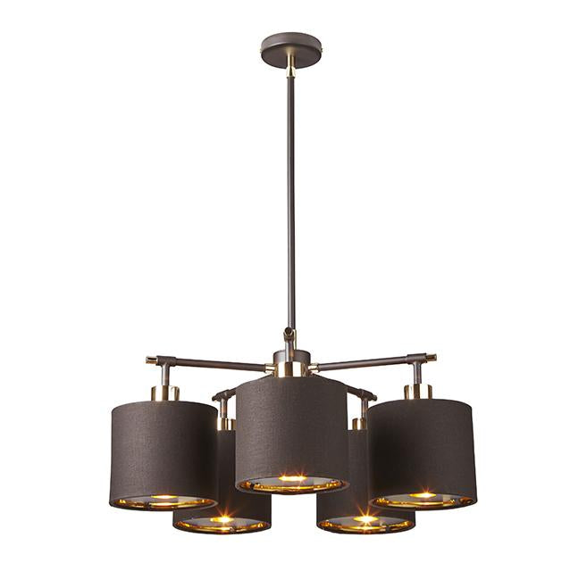 Balance Five Light Chandelier Brown and Polished Brass