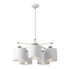 Balance Five Light Chandelier White and Polished Nickel