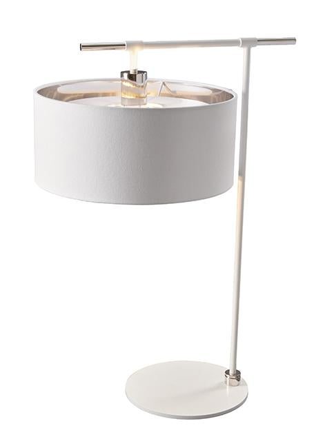 Balance Table Lamp White and Polished Nickel