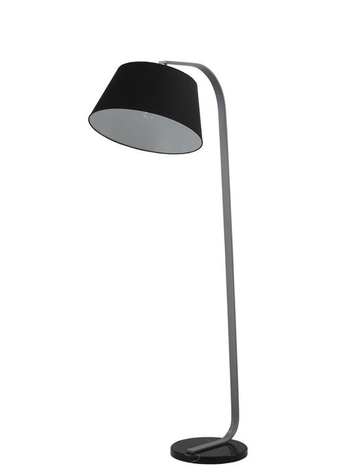 Banavie Grey Finish Standard Lamp With Black Marble Base & Black Shade - ID 8528