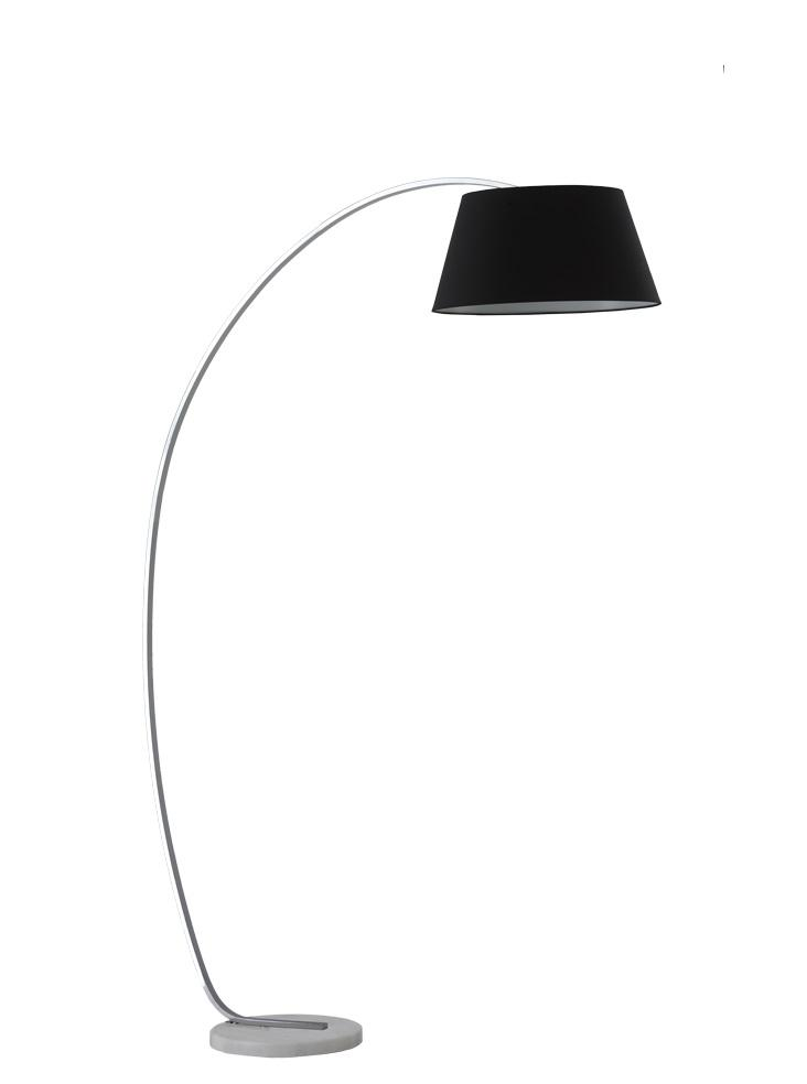 Satin Nickel Finish Standard Lamp With Marble Base & Black Shade - ID 8525