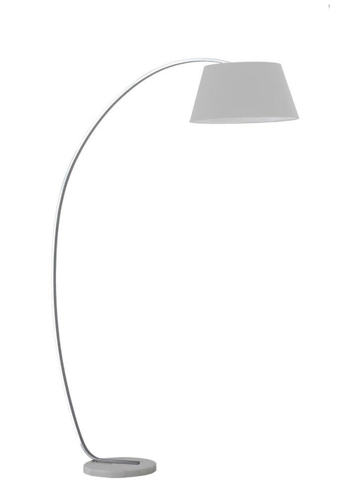Satin Nickel Finish Standard Lamp With Marble Base & Grey Shade - ID 6880
