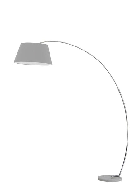 Satin Nickel Finish Arced Extendable Standard Lamp With Marble Base & Grey Shade - ID 7974