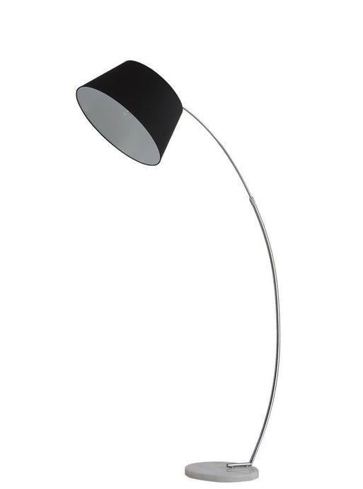 Satin Nickel Finish Arced Extendable Standard Lamp With Marble Base & Grey Shade - ID 8526
