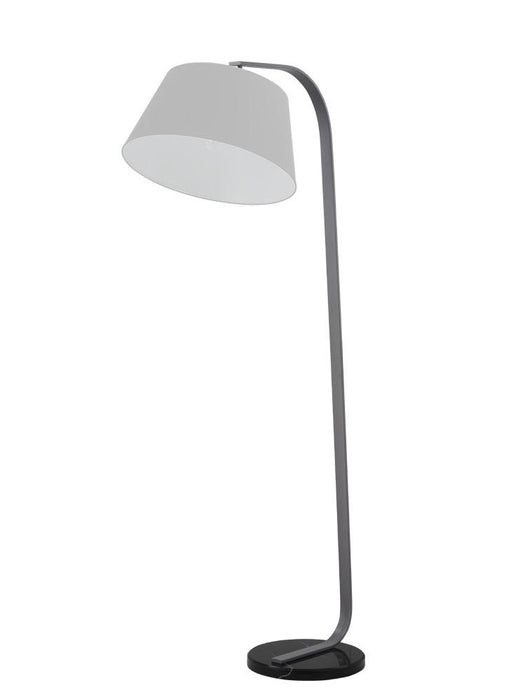 Banavie Grey Finish Standard Lamp With Black Marble Base & Grey Shade - ID 8527