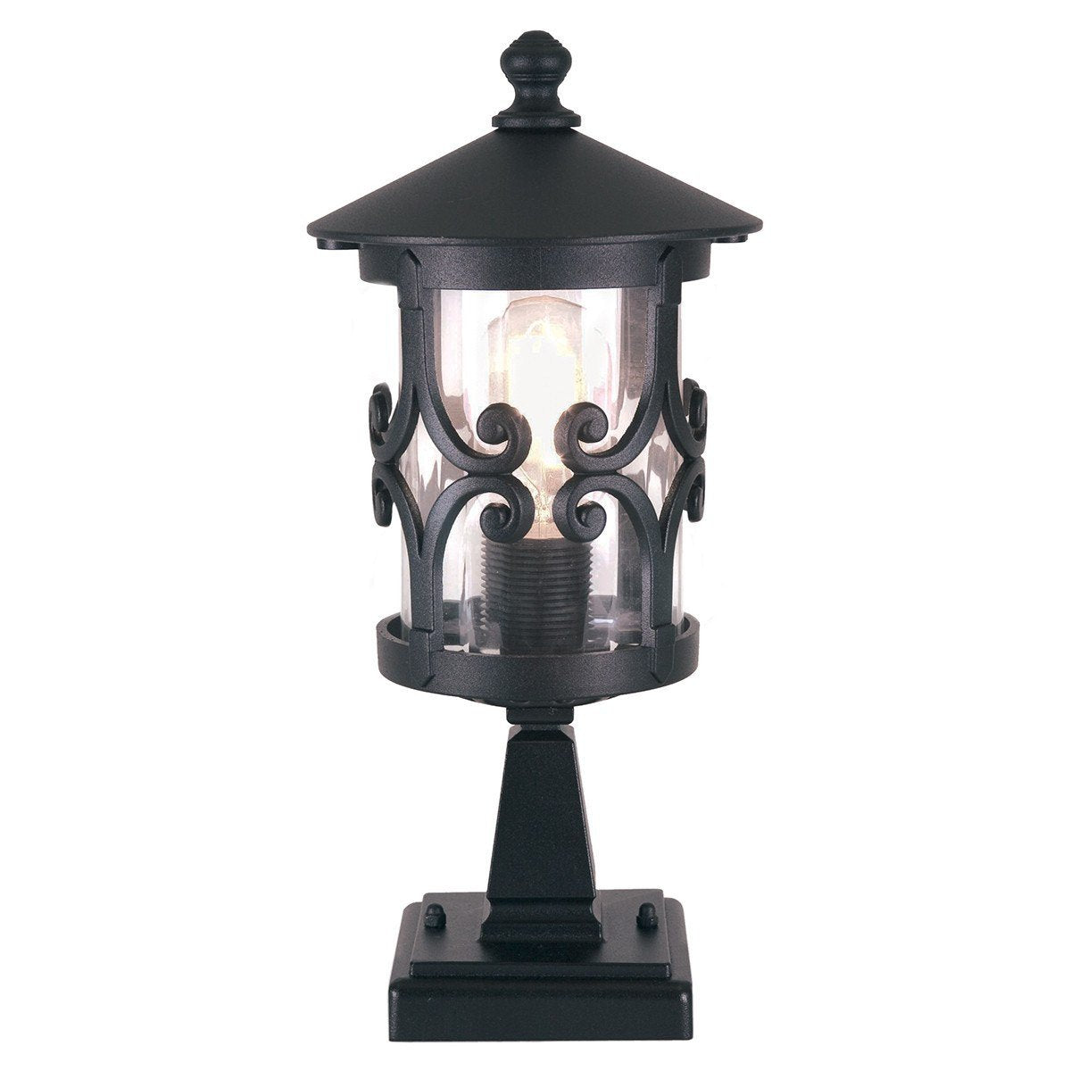 Hereford Pedestal Lantern Black - London Lighting - 1