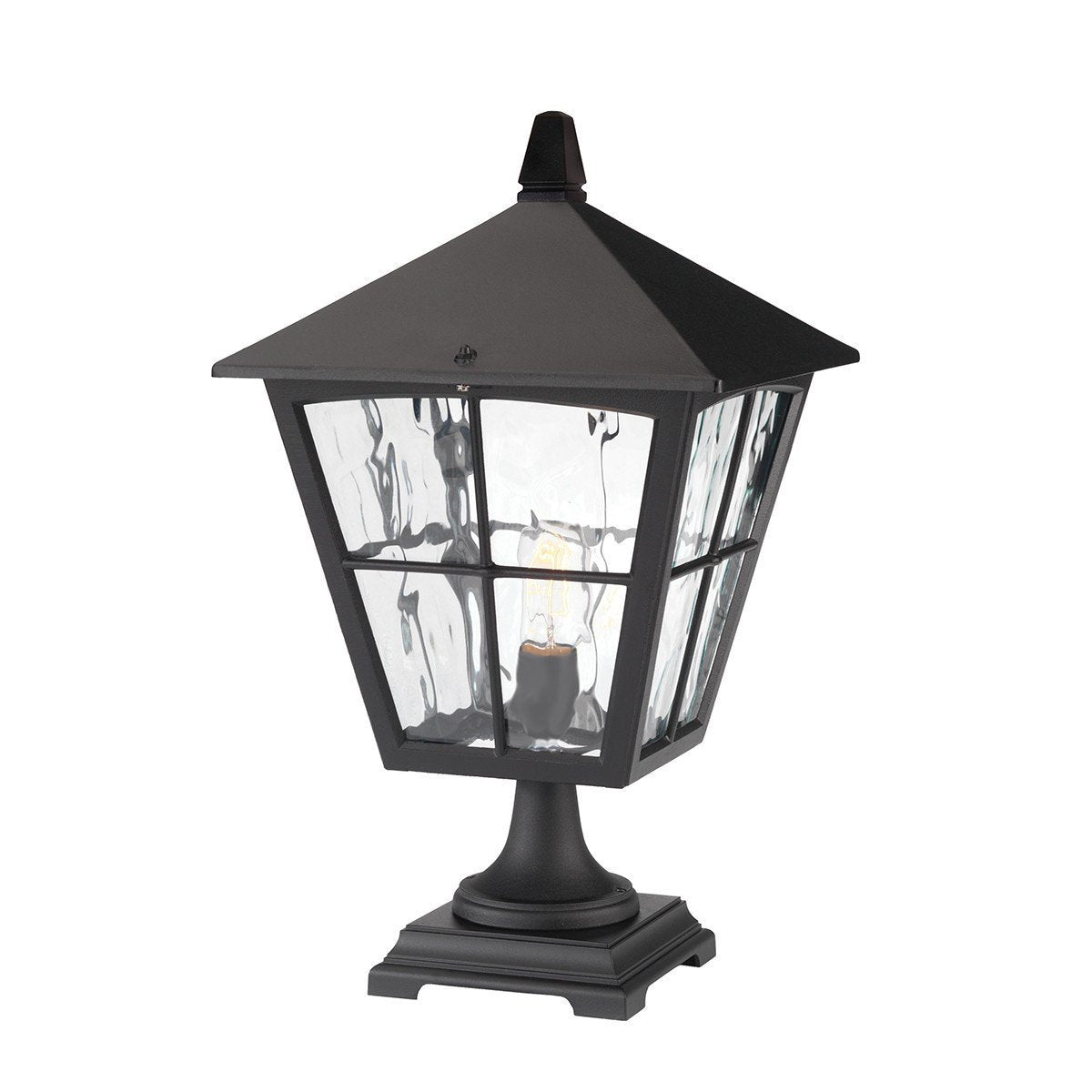 Edinburgh Pedestal Lantern Black - London Lighting - 1
