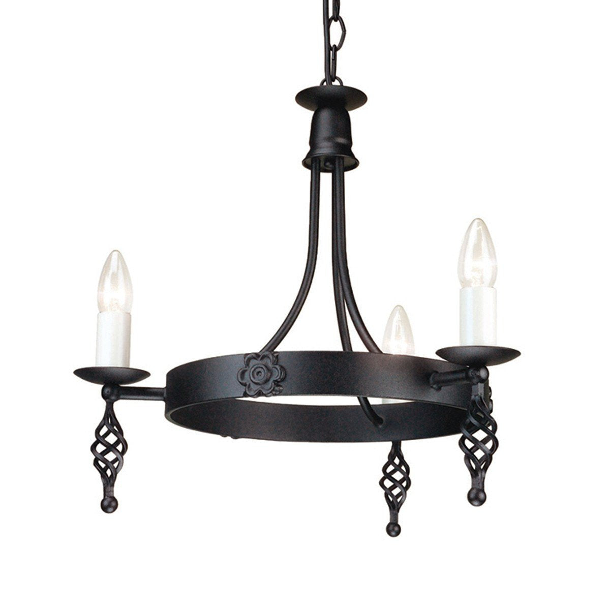 Belfry 3 Arm Chandelier Black - London Lighting - 1