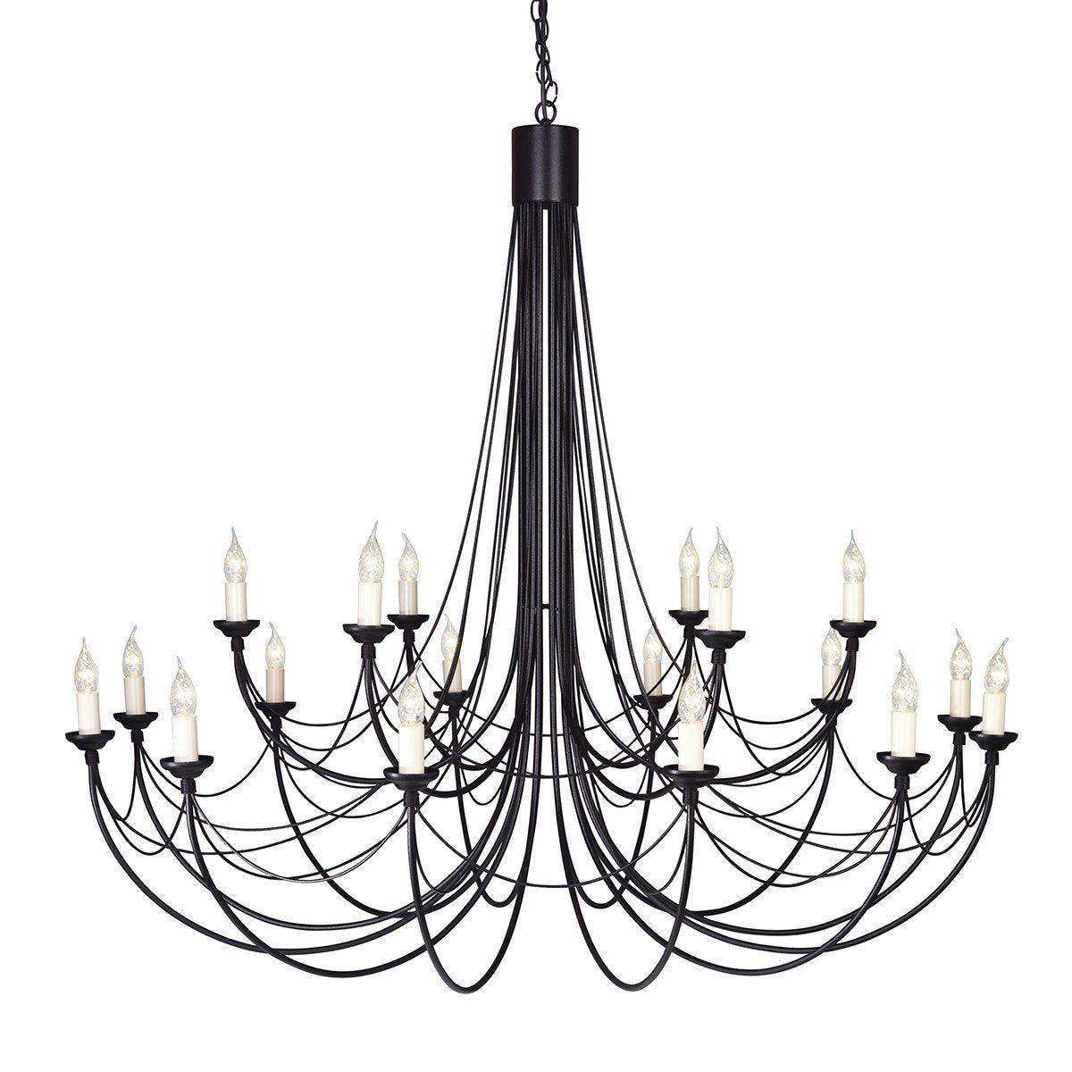 Carisbrooke 18 Arm Chandelier Black - London Lighting - 1