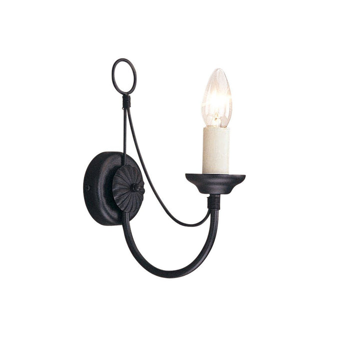Carisbrooke 1 Arm Wall Light Black - London Lighting - 1