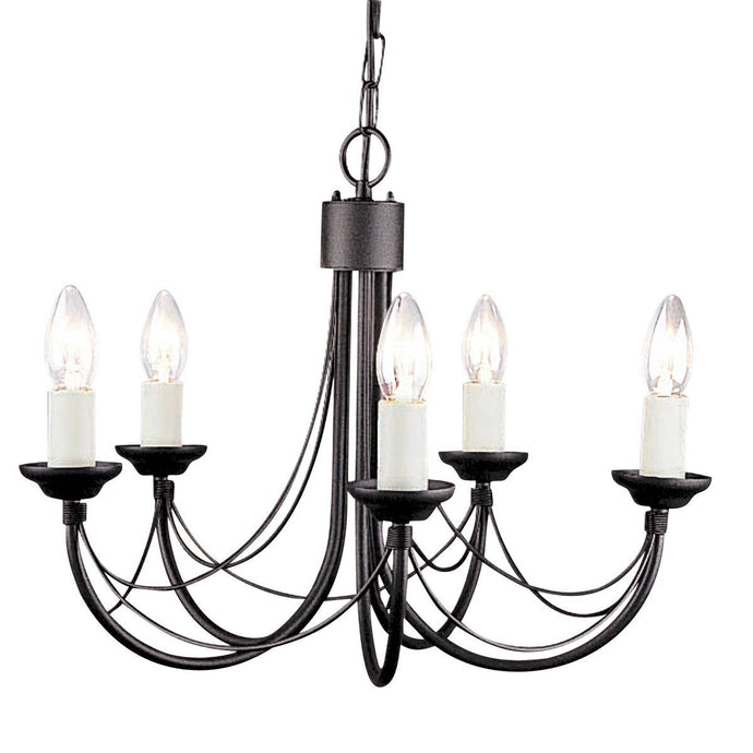 Carisbrooke 5 Arm Chandelier Black - London Lighting - 1