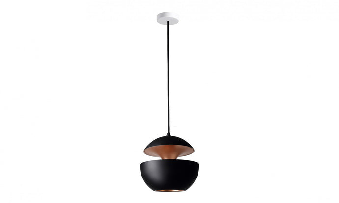 17.5cm Aluminium Globe Pendant In Black & Copper - ID 7977