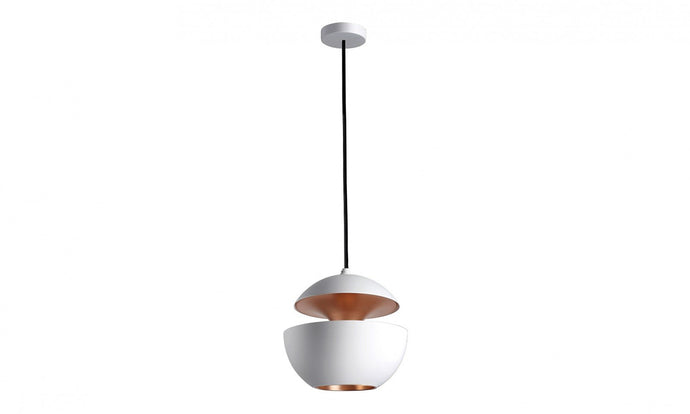 17.5cm Diameter Aluminium Globe Pendant In White & Copper - ID 7978