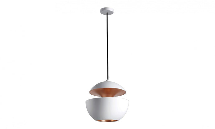 25cm Diameter Aluminium Globe Pendant In White & Copper - ID 7997