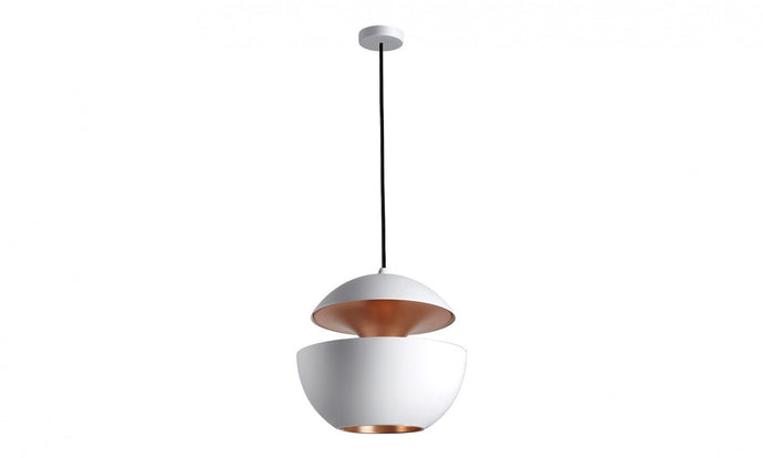 35cm Diameter Aluminium Globe Pendant In White & Copper - ID 7994