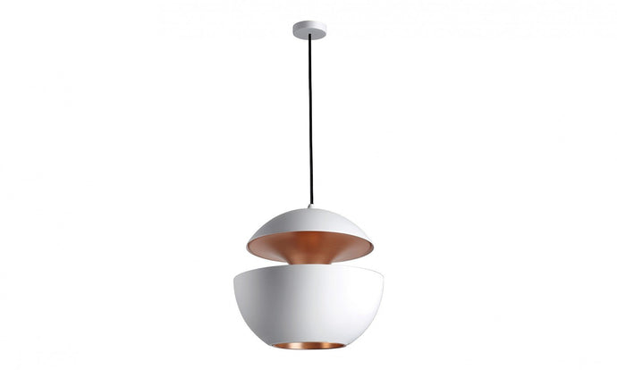 45cm Diameter Aluminium Globe Pendant In White & Copper - ID 7983