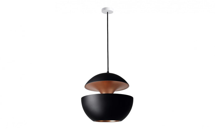45cm Aluminium Globe Pendant In Black & Copper - ID 7982