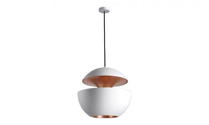 55cm Diameter Aluminium Globe Pendant In White & Copper - ID 7988