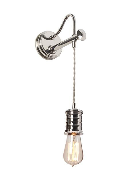 Single Polished Nickel Wall Light