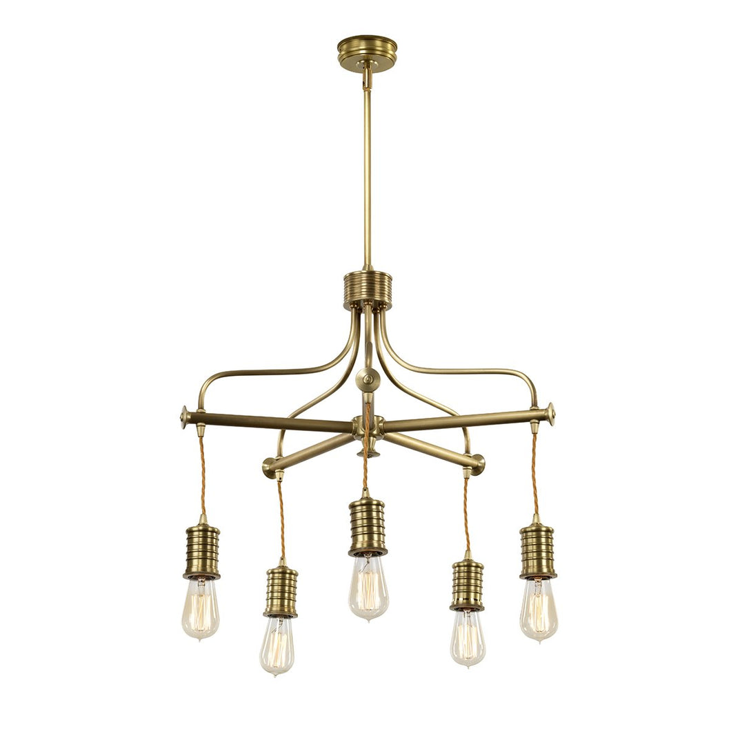 Five Light Aged Brass Chandlier