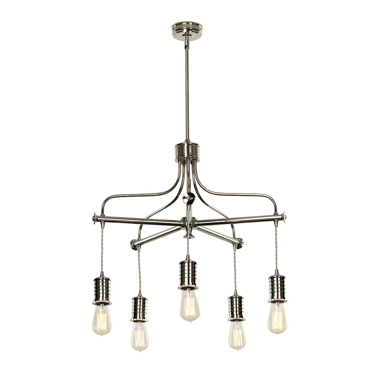 Five Light Polished Nickel Chandelier