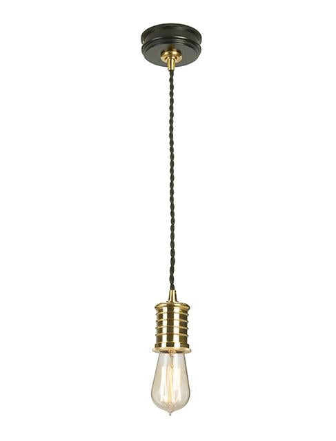 Single Black/Polished Brass Pendant Light
