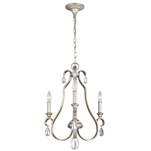 DeWitt Three Light Sunrise Silver Chandelier