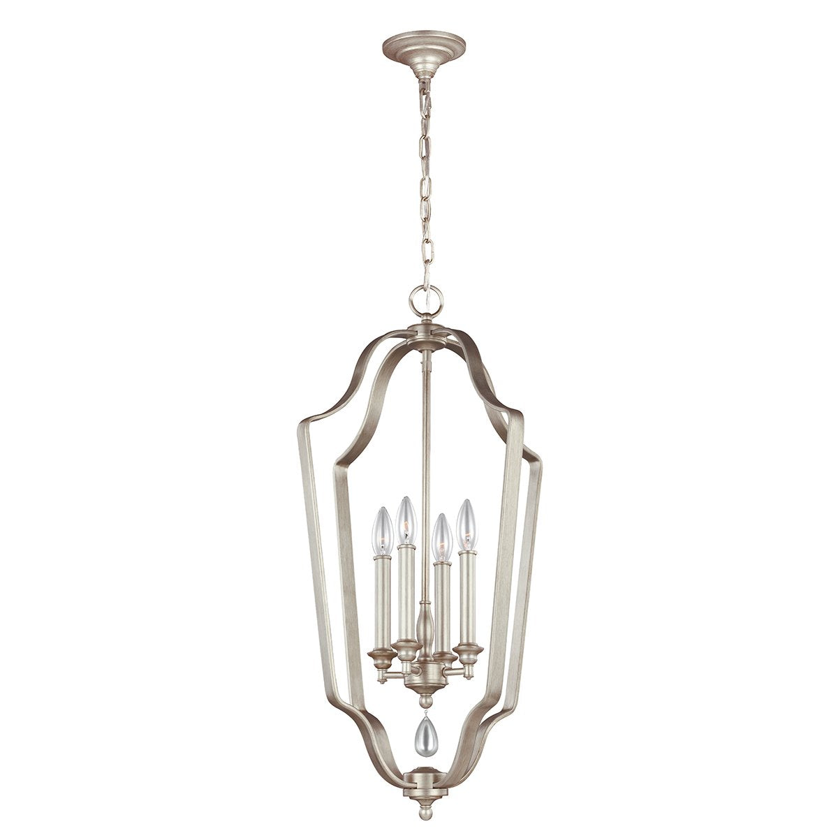 DeWitt Four Light Foyer Sunrise Silver Chandelier