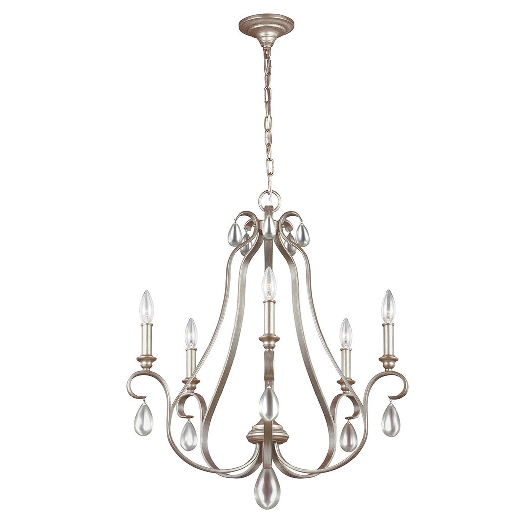 DeWitt Five Light Sunrise Silver Chandelier
