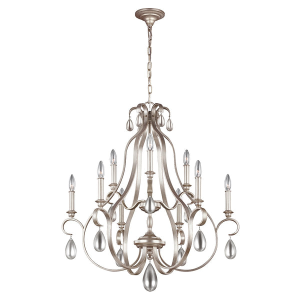 DeWitt Nine Light Sunrise Silver Chandelier