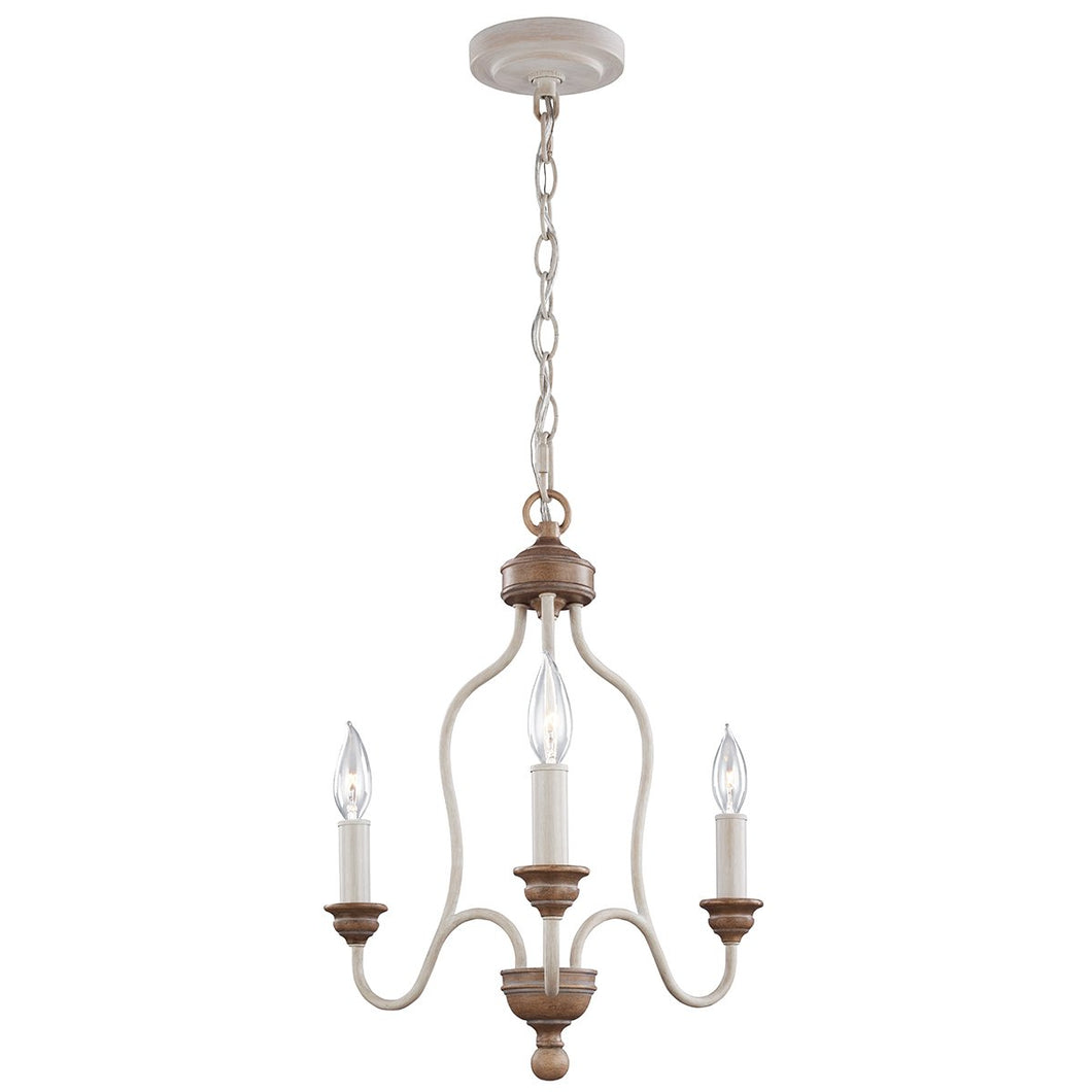 Three Light Chalk Washed/ Beachwood Chandelier