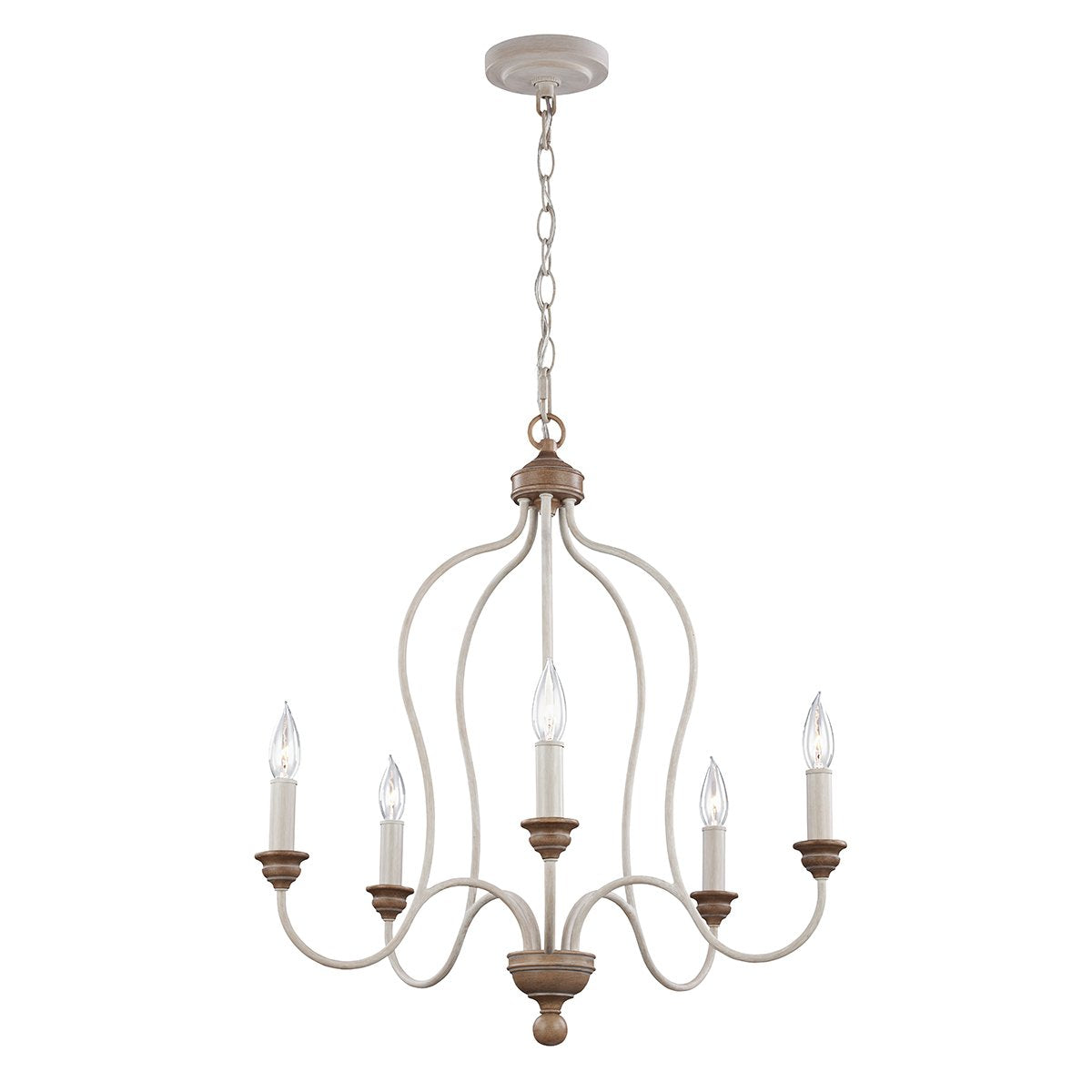 Five Light Chalk Washed/ Beachwood Chandelier
