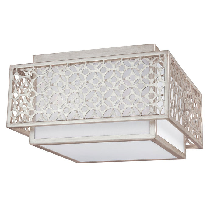 Two Light Silver Flush Mount