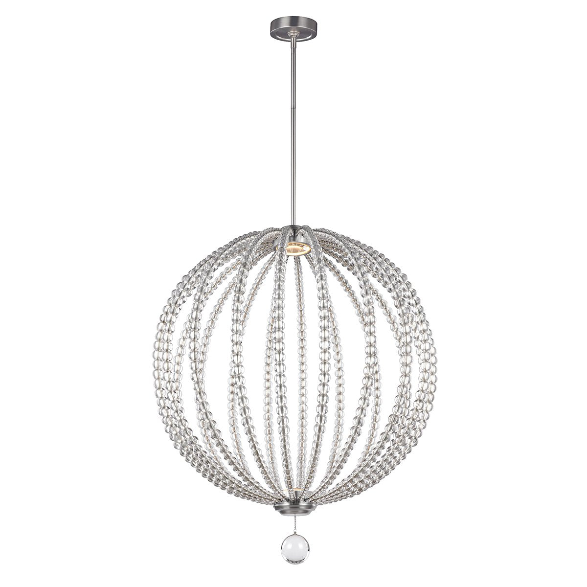 Large Two Light Satin Nickel LED Pendant