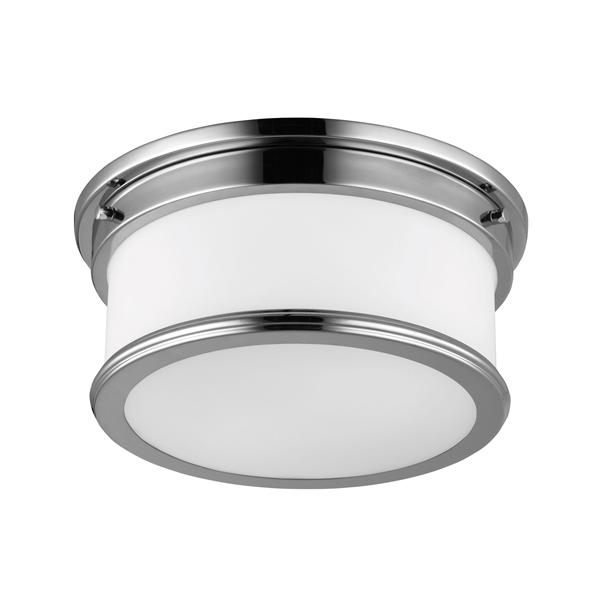 Two Light Polished Chrome Flush Mount
