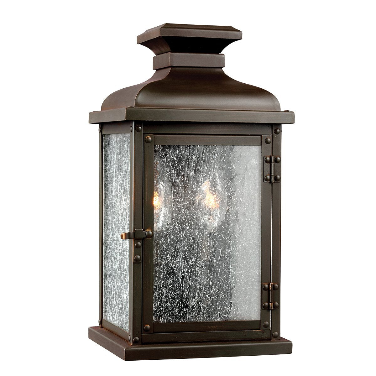 Small Two Light Dark Aged Copper Wall Lantern