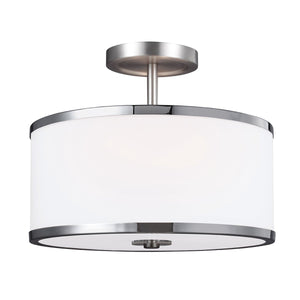 Satin Nickel Semi Flush Light