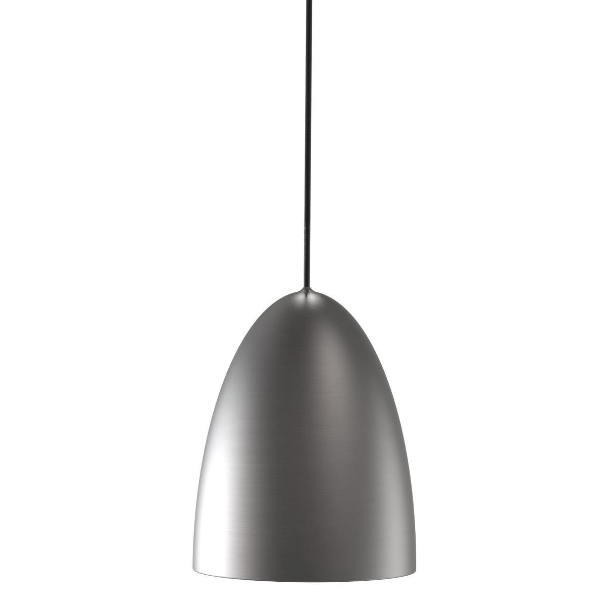 Brushed Steel Single Pendant With Cut Plastic Diffuser - ID 5086