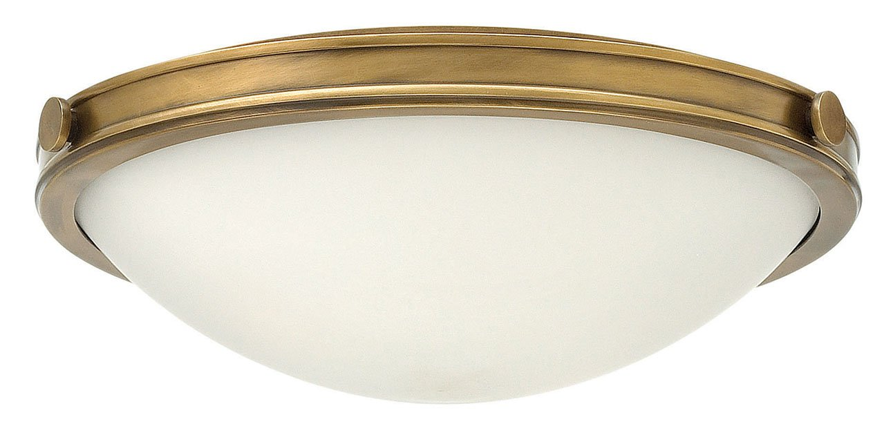 Three Light Heritage Brass Large Flush Mount Ceiling Light