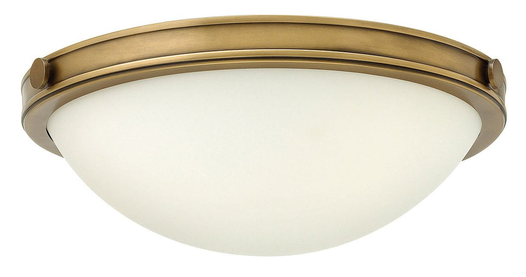 Small Two Light Heritage Brass Flush Mount Ceiling Light