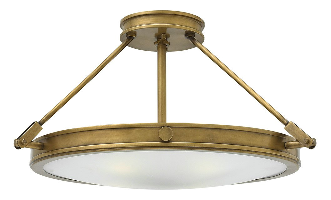 Four Light Heritage Brass Large Semi-Flush Mount Ceiling Light