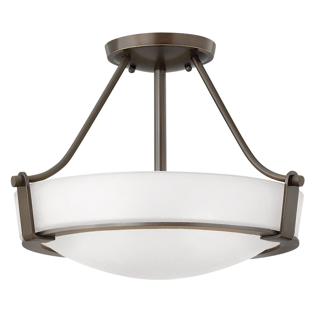 Semi Flush Three Light Olde Bronze