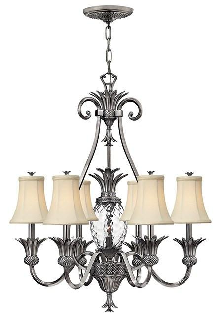 Plantation 7 Lamp Chandelier Polished Antique Nickel - London Lighting - 1