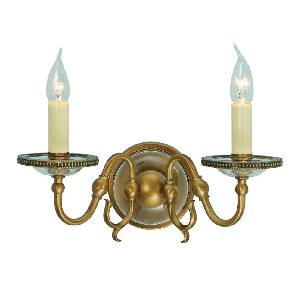 Hampton Double Wall Light In Antique Brass - ID 8734