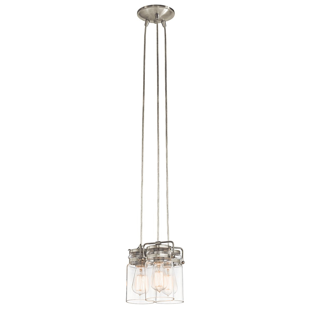 Brinley Three Light Brushed Nickel Pendant Light
