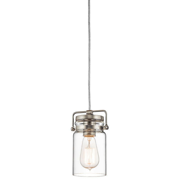 Brinley One Light Brushed Nickel Mini Pendant Light