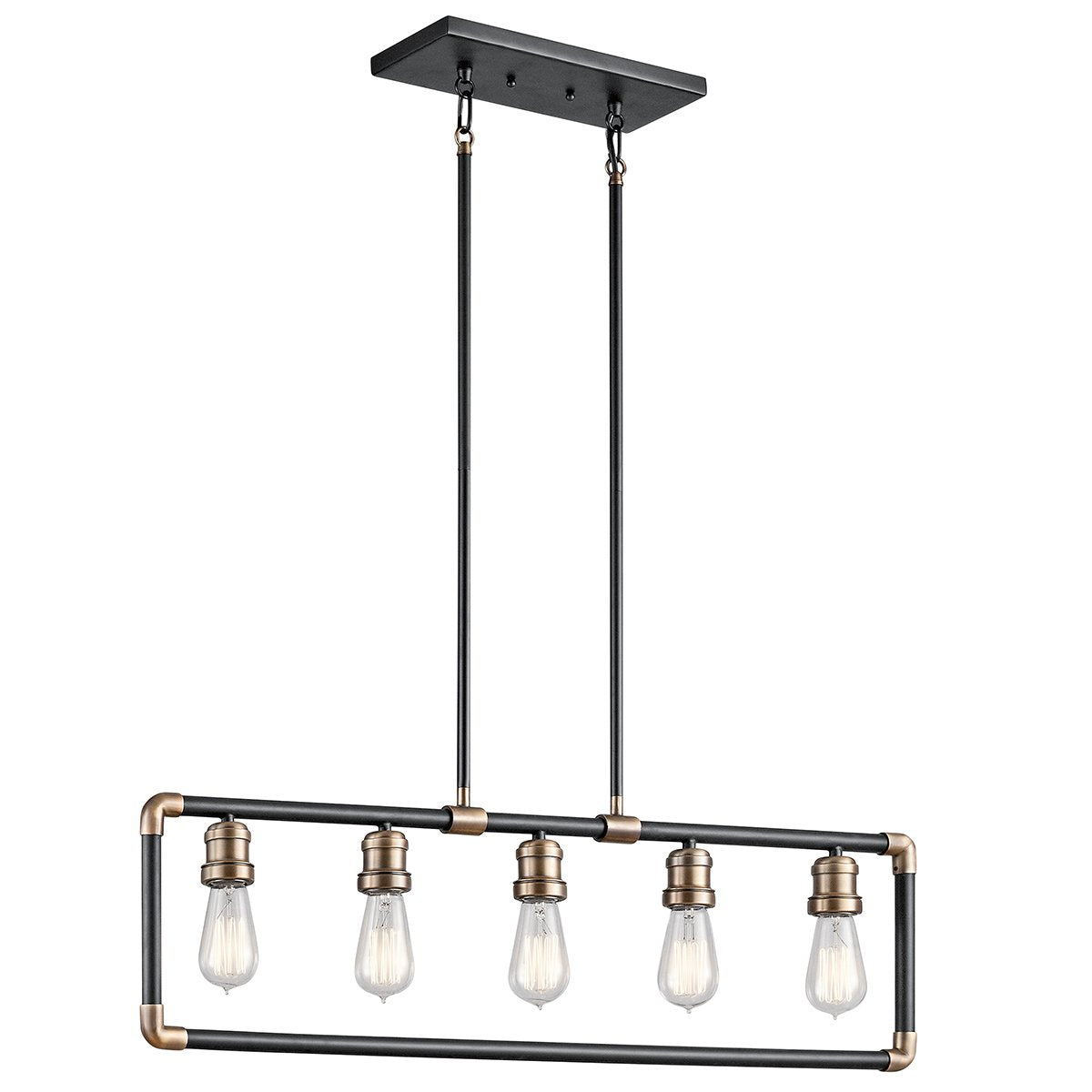 Five Light Black and Brass Linear Chandelier