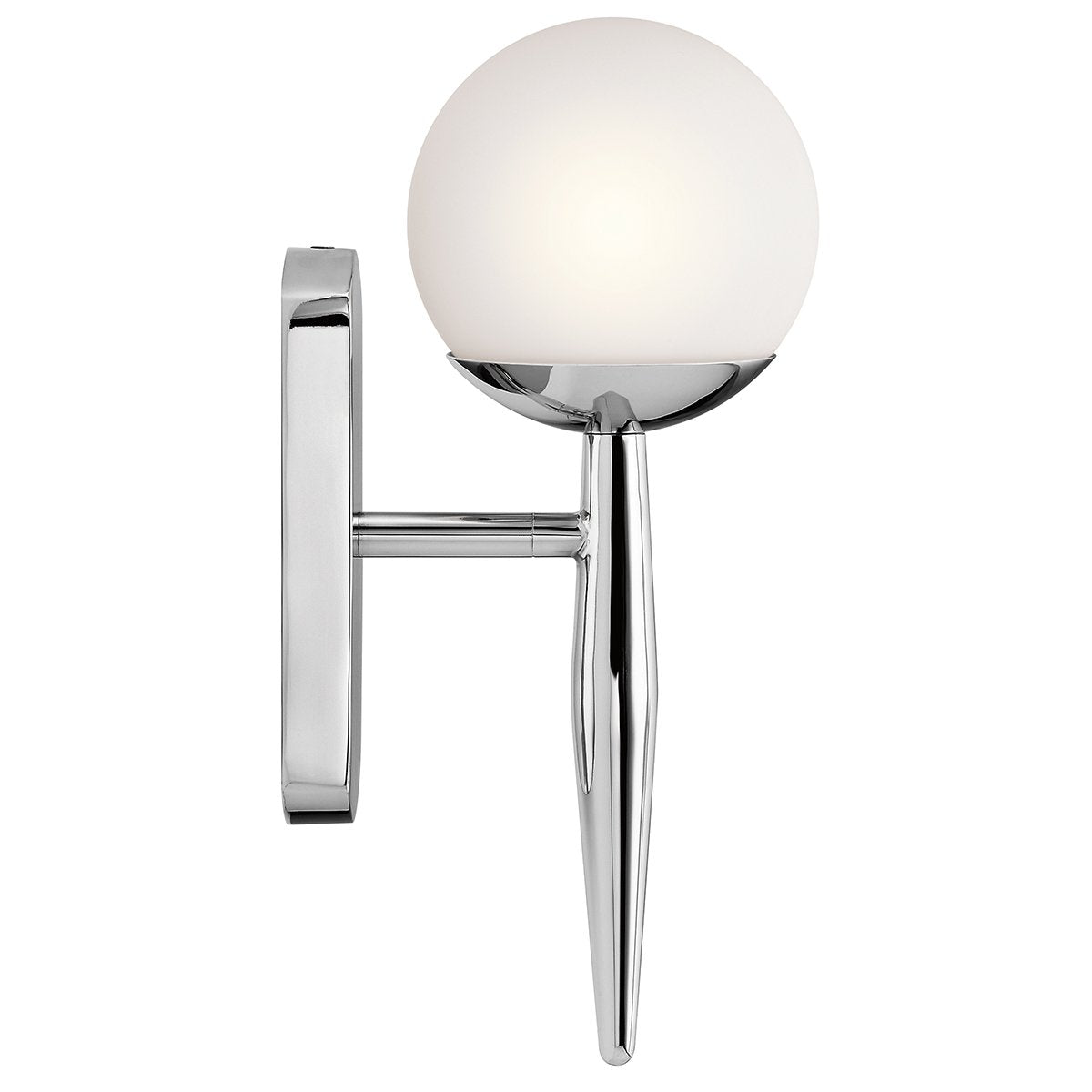 Single Light Polished Chrome Bathroom Wall Light
