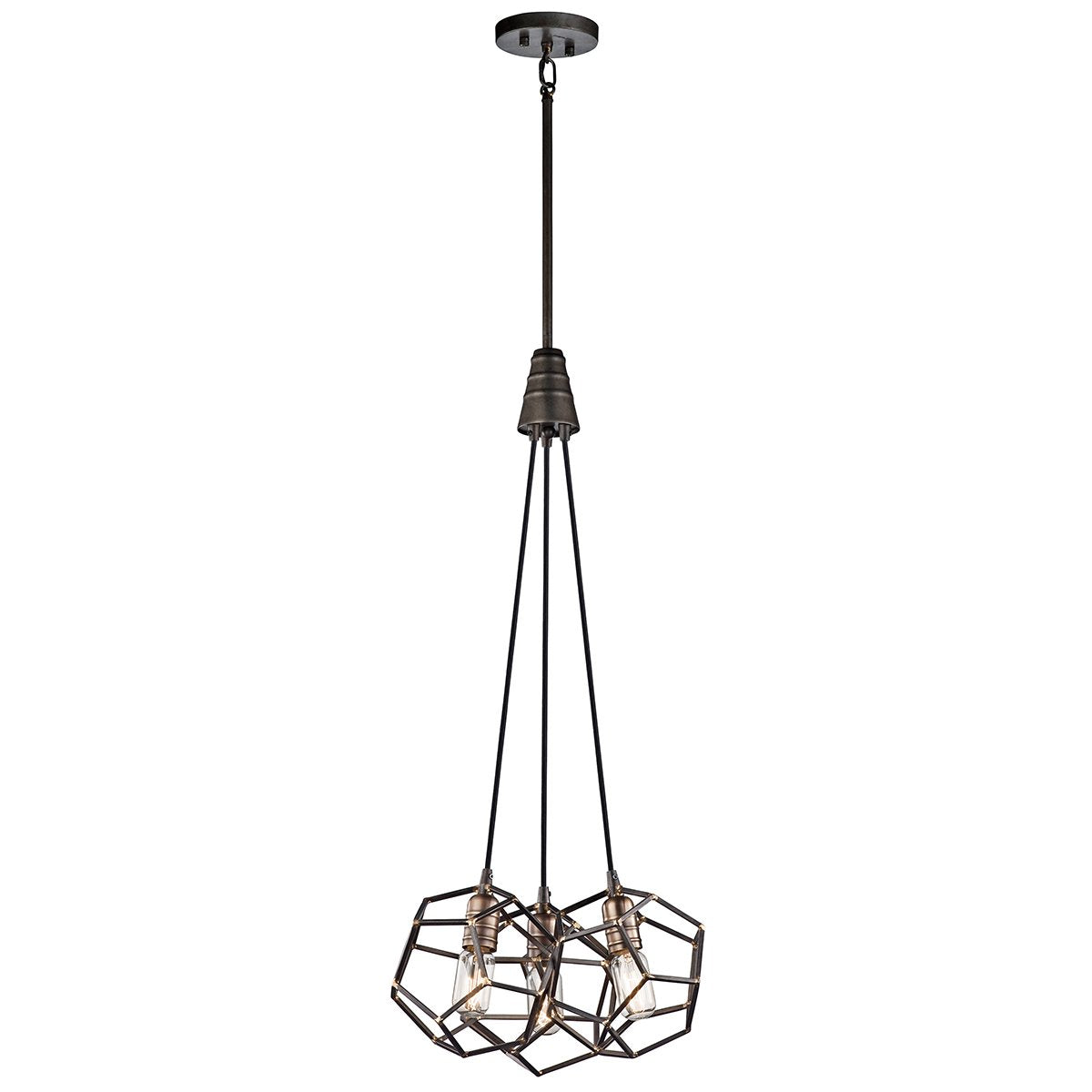 Rocklyn Three Light Raw Steel Chandelier